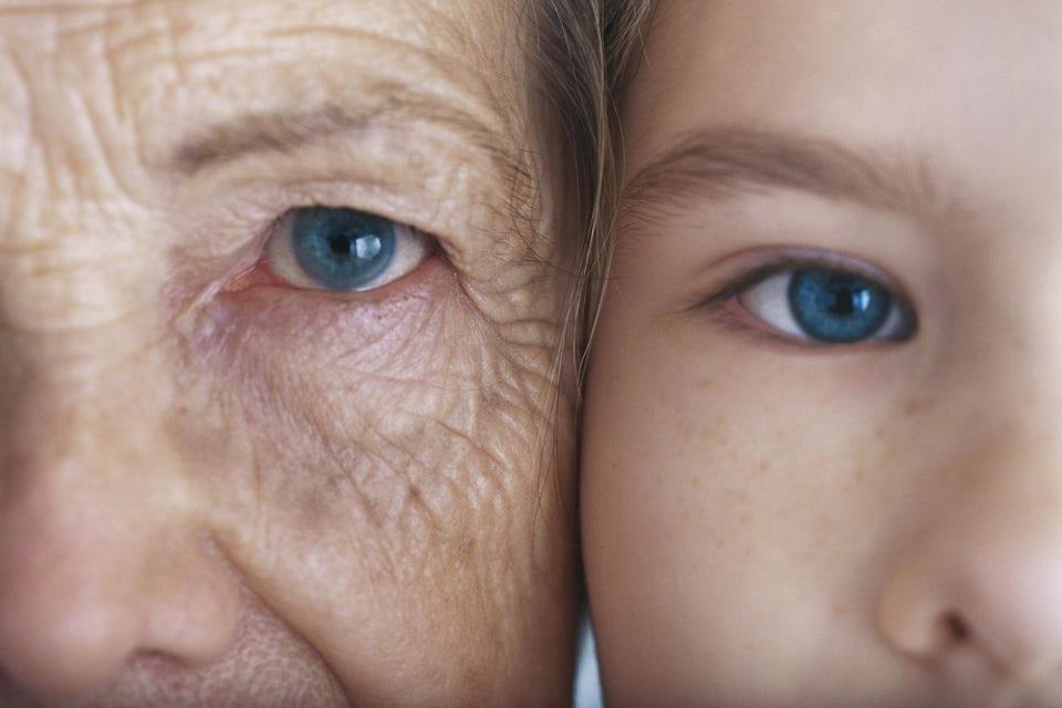 Nærbilde av en gammel og en ung