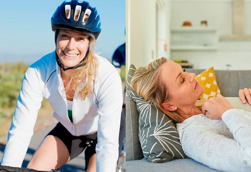 Nainen pyörän selässä ja nainen sohvalla
