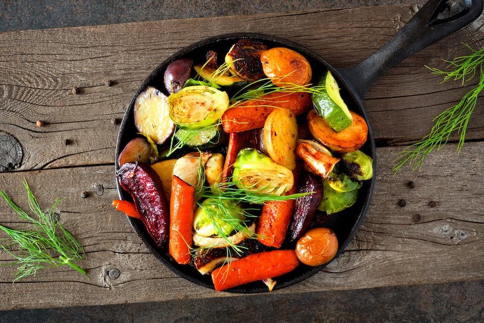 grönsaker i stekpanna