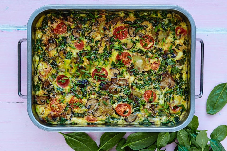 Vegetar frittata med kartofler og spinat