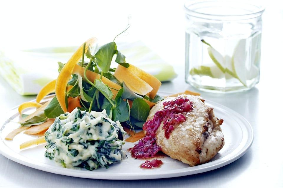 Citronkylling med rødløg og kartoffel-spinatmos