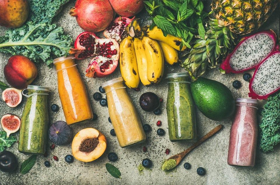 Frukt, grönsaker och juice för detox