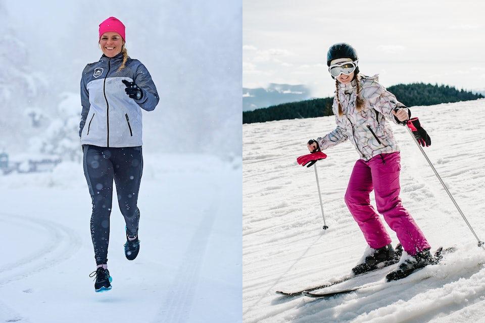 Skiundertøj damer: kvinde står på ski og kvinde vinterløber