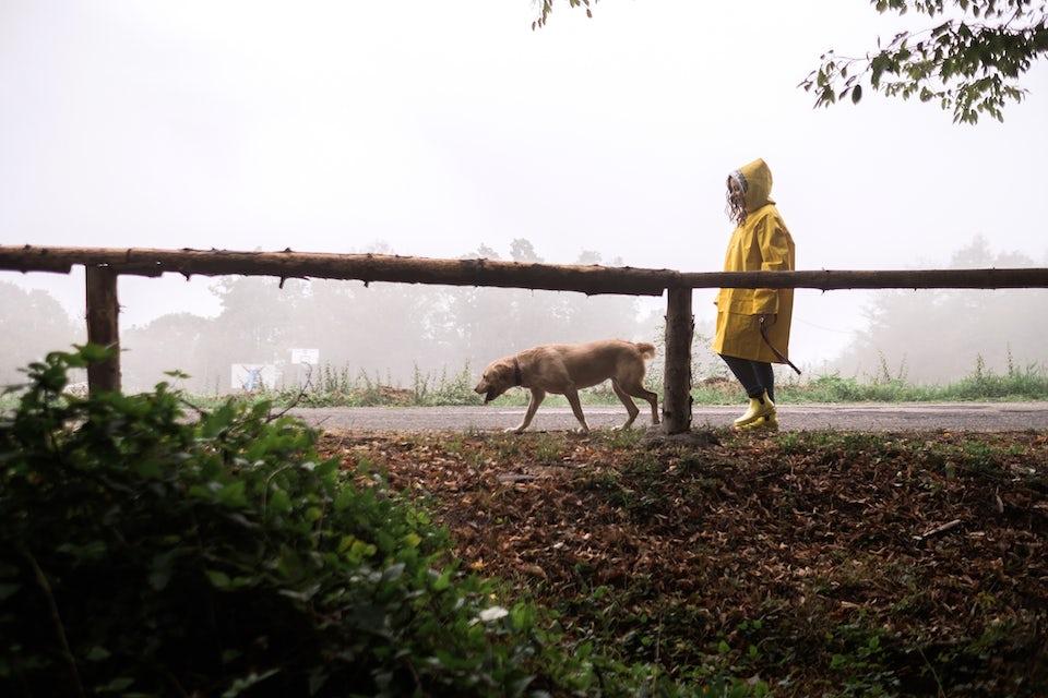 Nainen kävelee koiran kanssa