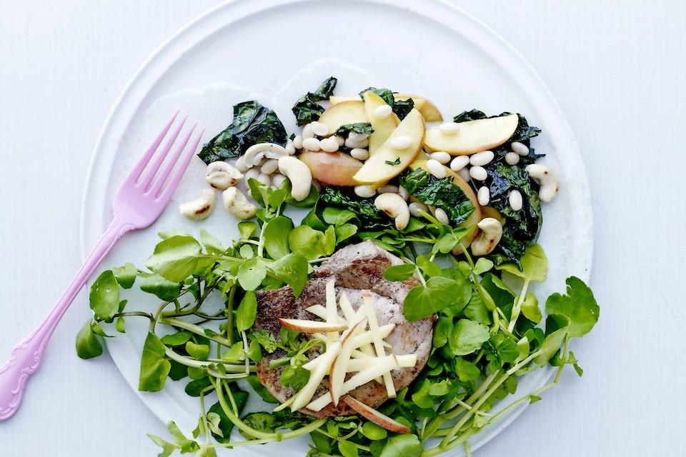 Skinkschnitzel med gröna tillbehör