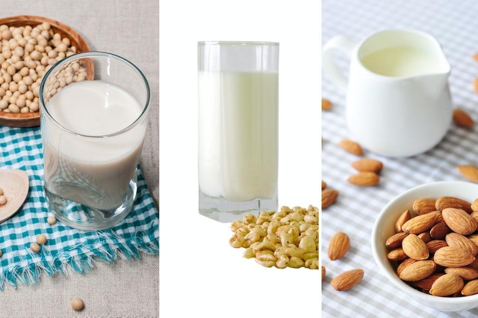 Mandelmjölk, sojamjölk och rismjölk