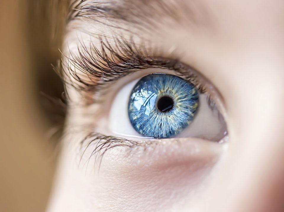 Ett öga med blå iris.
