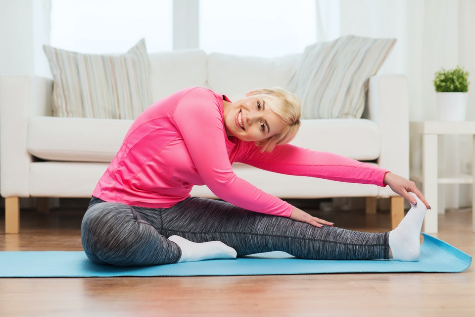 Hemmaträning, blond kvinna, 7-Minute Workout.