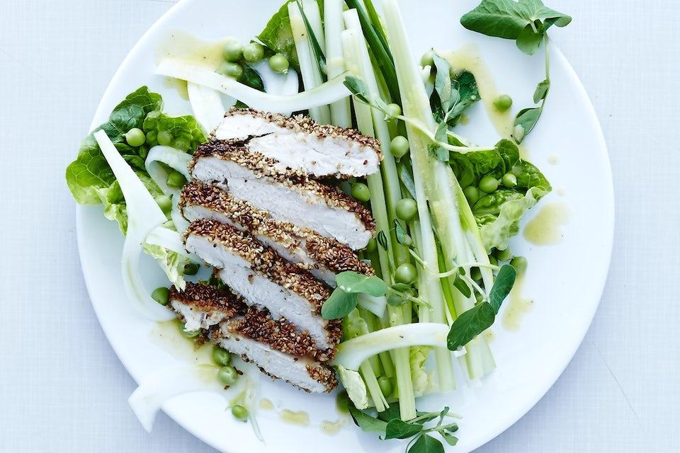 Tallrik med kyckling och grönt.