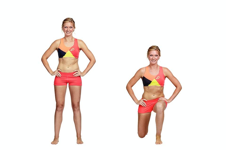 kvinde gjør utfall, lunges, bikinisak