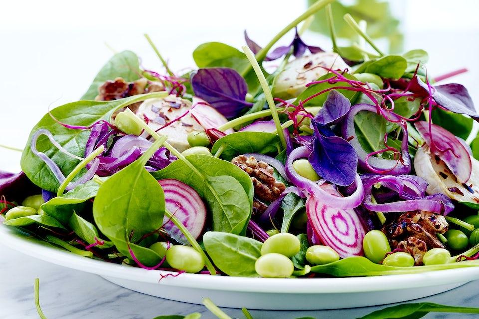 spinatsalat med geitost