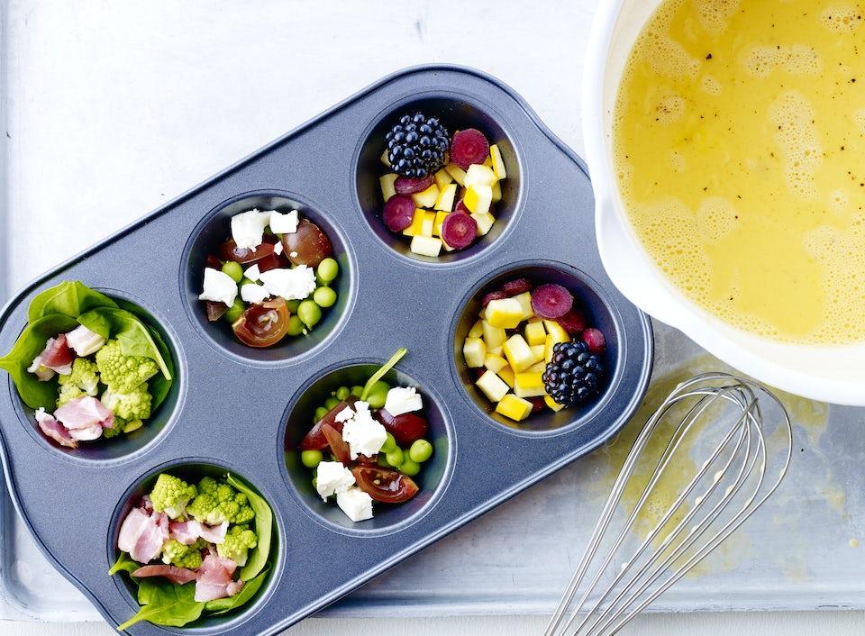 Frukt och grönt i muffinsplåt