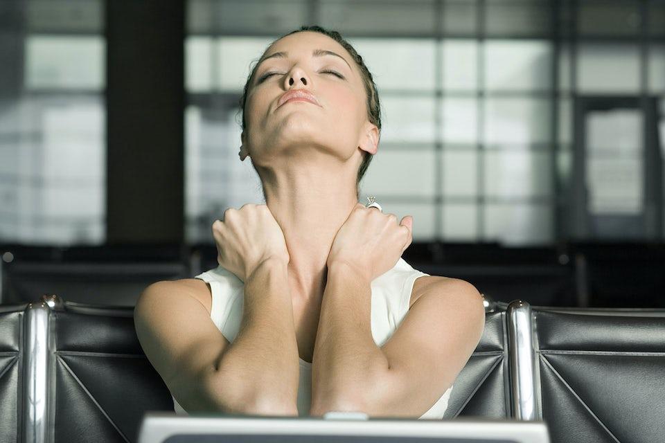Massage, kvinna, akupressur
