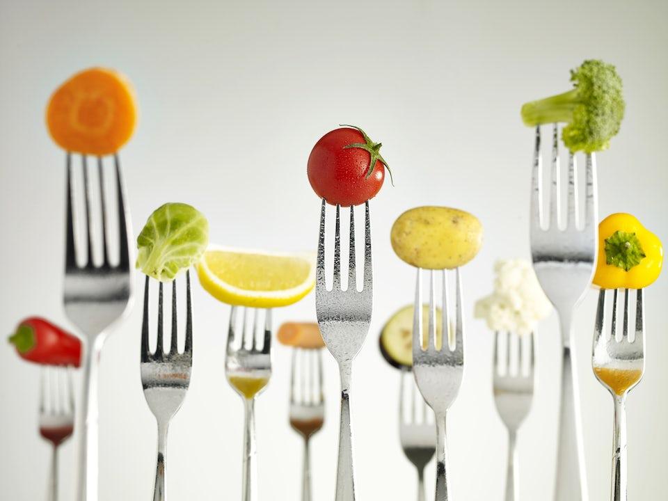 Grøntsager på gafler