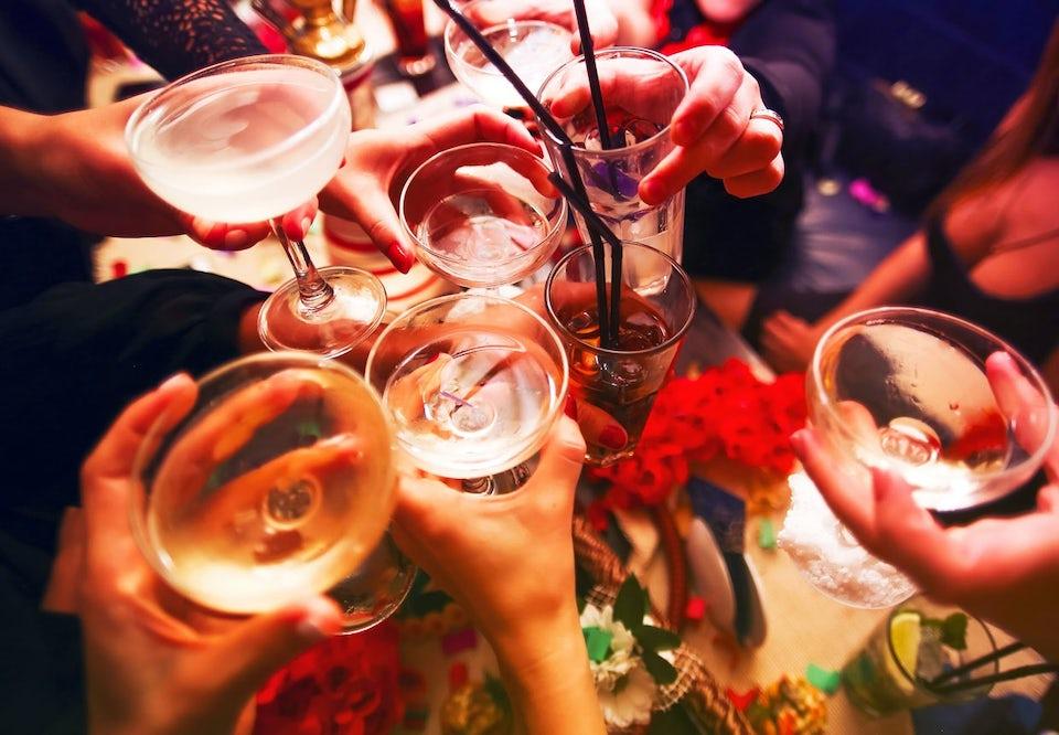 Glas med alkohol.