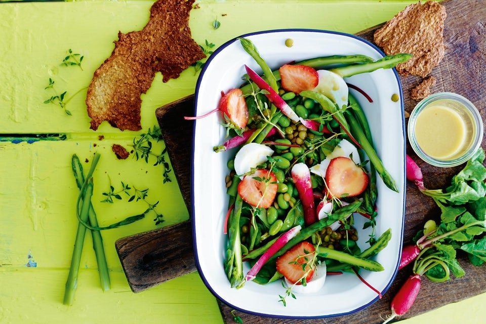 Edamamesalat med asparges og linser