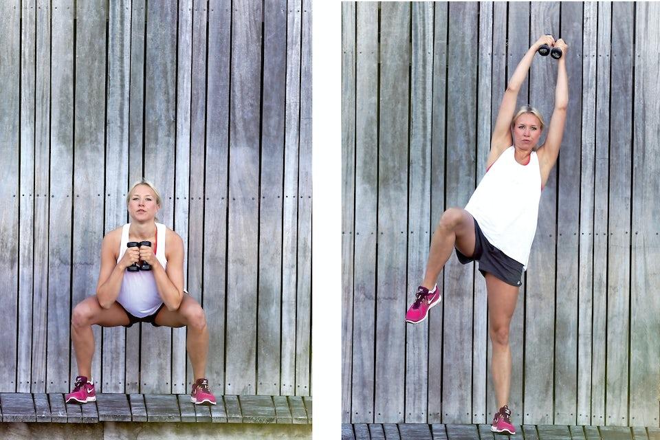 kvinde laver squat med diagonalt stræk