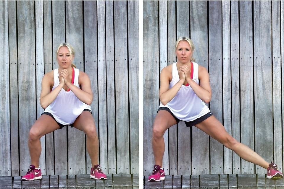 Kvinde laver squat med benslide
