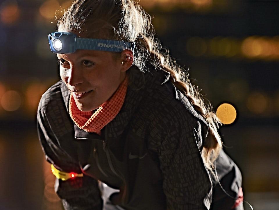 Kvinde, løbetøj, vinterløb