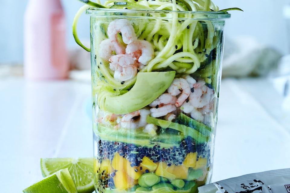 Salat med rejer i glas