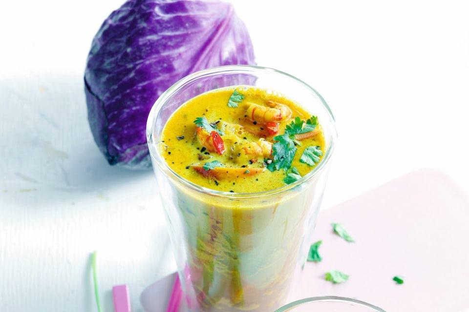 Glas med ferskensuppe og et kålhoved _NO