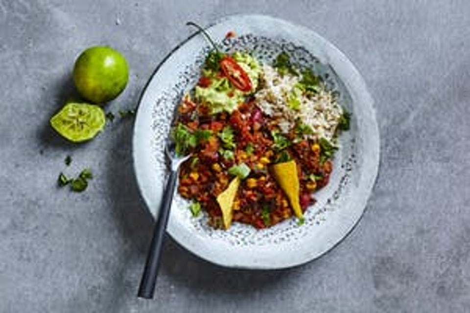 Tallerken med chili sin carne