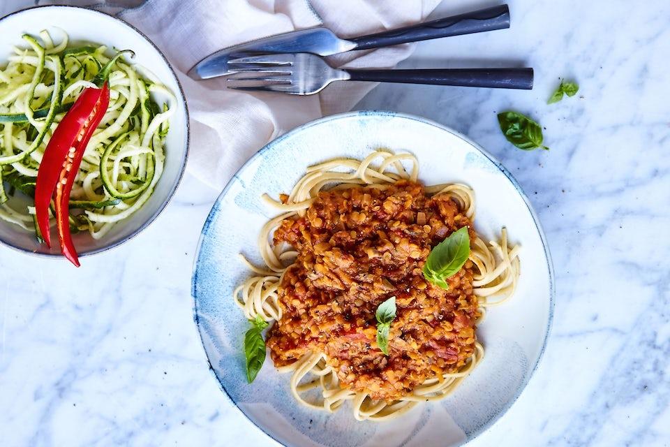 Tallerken med pasta bolognese