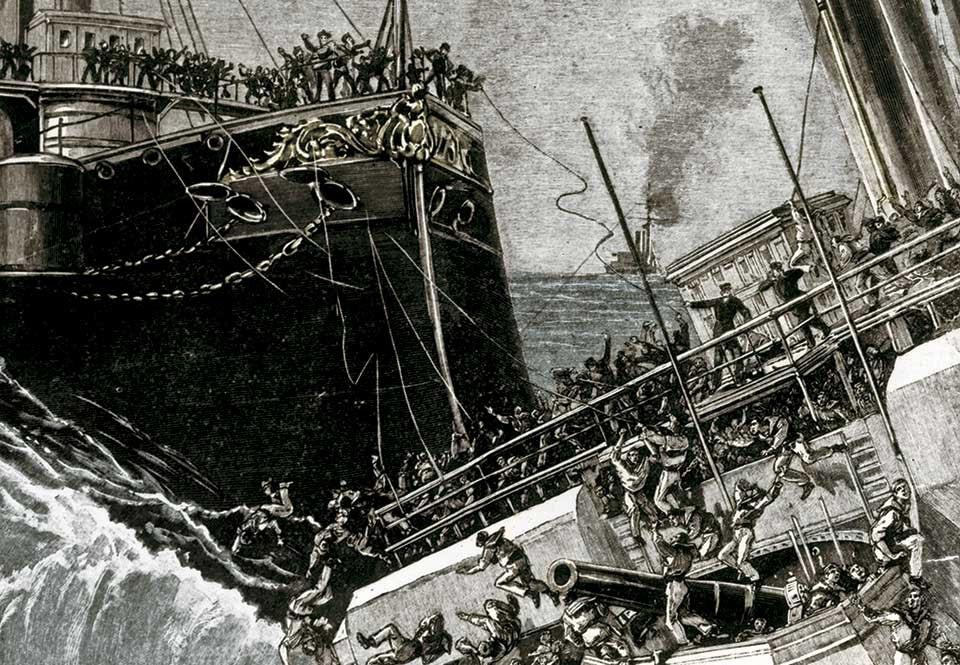 Camperdown och HMS Victoria kolliderar i Medelhavet 1893