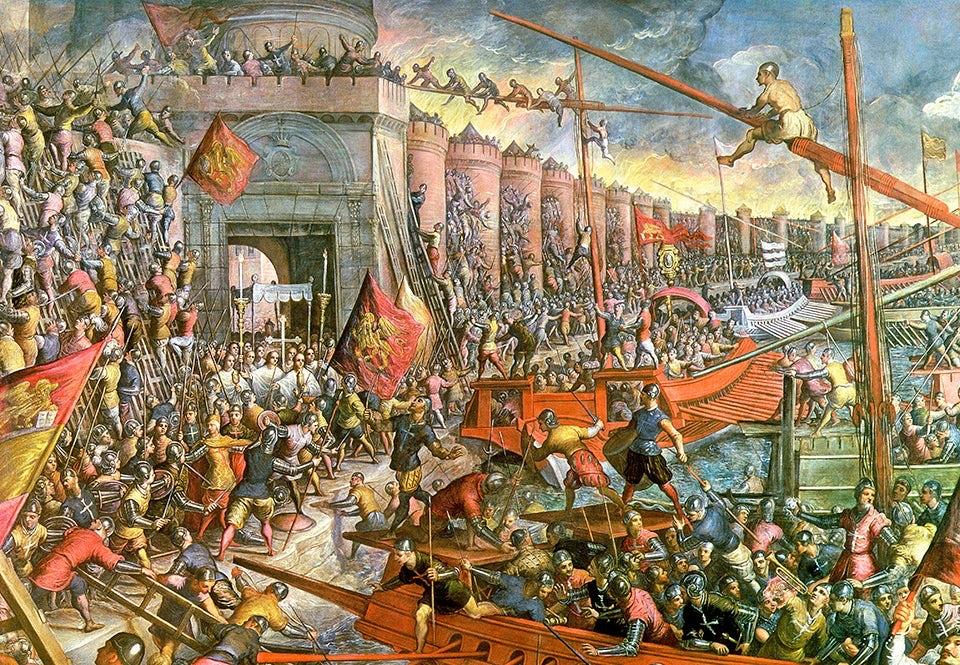 Det fjärde korstågets erövring av Konstantinopel 1204. Oljemålning av Tintoretto, eller Jacopo Robusti (1518–95).