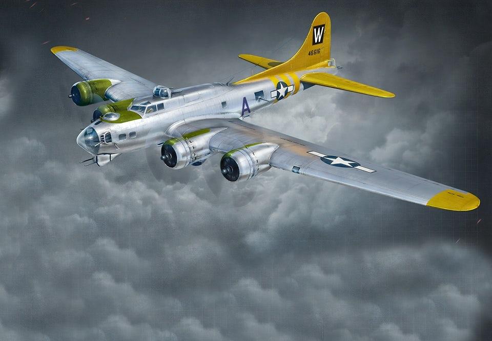 B-17 Flying Fortress hade tio mans besättning och kunde lasta 3,6 ton bomber vid kortare uppdrag, 2,0 på längre.