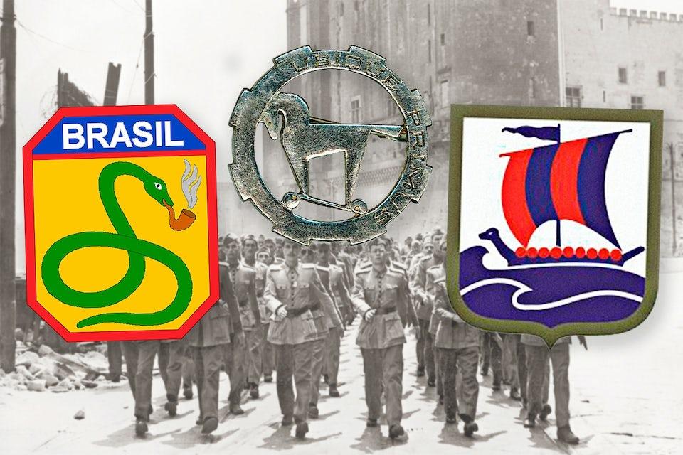 Andra världskrigets okända förband. Förbandsmärken för Brasilianska infanteridivisionen, Levantarmén och 99. infanteribatljonen.