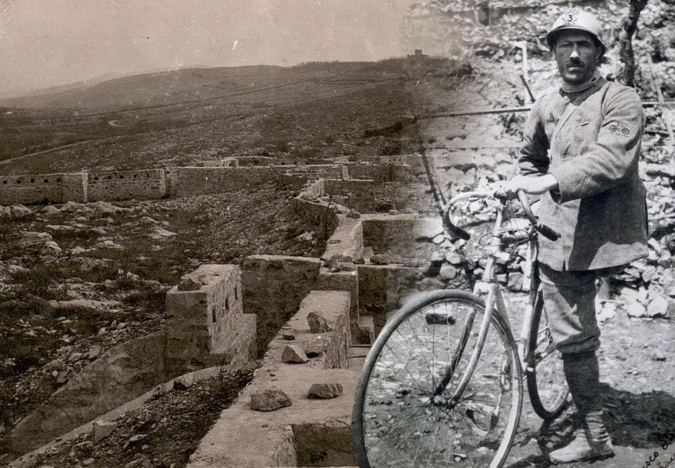 Enrico Toti vid alpfronten 1916, samma år som han dödades.