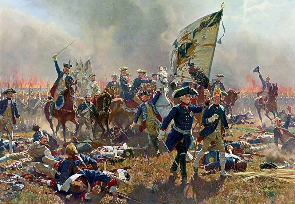 Fredrik den store (med fanan) under slaget vid Zorndorf den 25 augusti 1758. Den preussiske kungen organiserade och ledde sin armé framgångsrikt under flera krig. Men hans offensiva taktik ledde även till höga förlustsiffror.