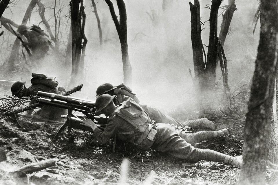 Amerikanska soldater med benlindor under första världskriget.
