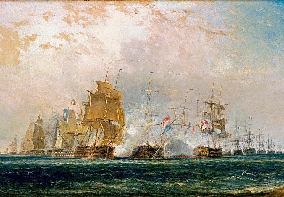 """På eftermiddagen den 1 augusti 1798 gick Nelson till angrepp mot den franska flottstyrkan som ankrat upp i Abukirbukten. Taktiken gick ut på att utsätta fienden för eldgivning från två håll samtidigt. """"The Battle of the Nile."""" Målning av William Daniell."""
