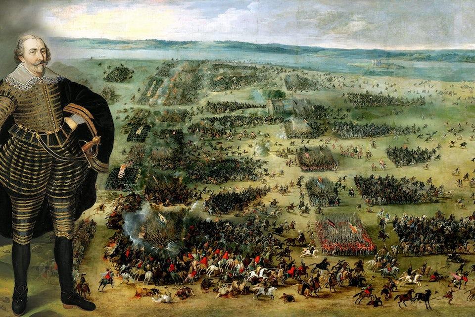 Det svenska kavalleriet (närmast i bild) flyr under slaget vid Kirkholm. Den svenske kungen Karl IX infälld i bilden.