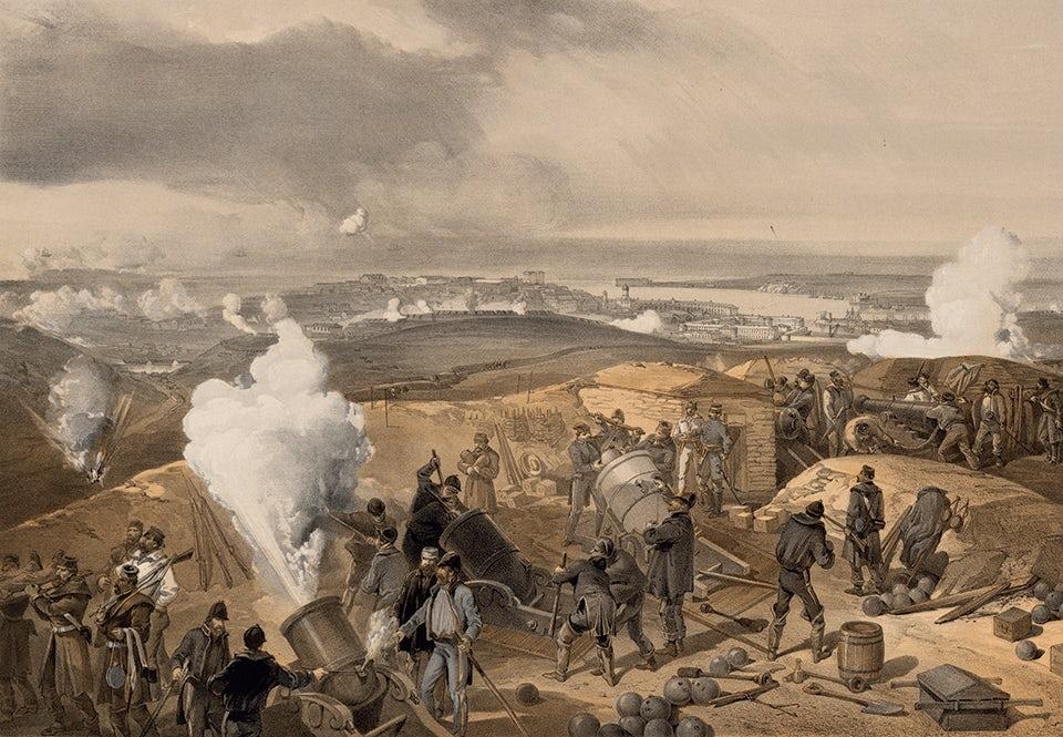 Brittiskt belägringsartilleri utanför Sevastopol. Litografi efter en av krigskorrespondenten William Simpsons målningar av striderna.