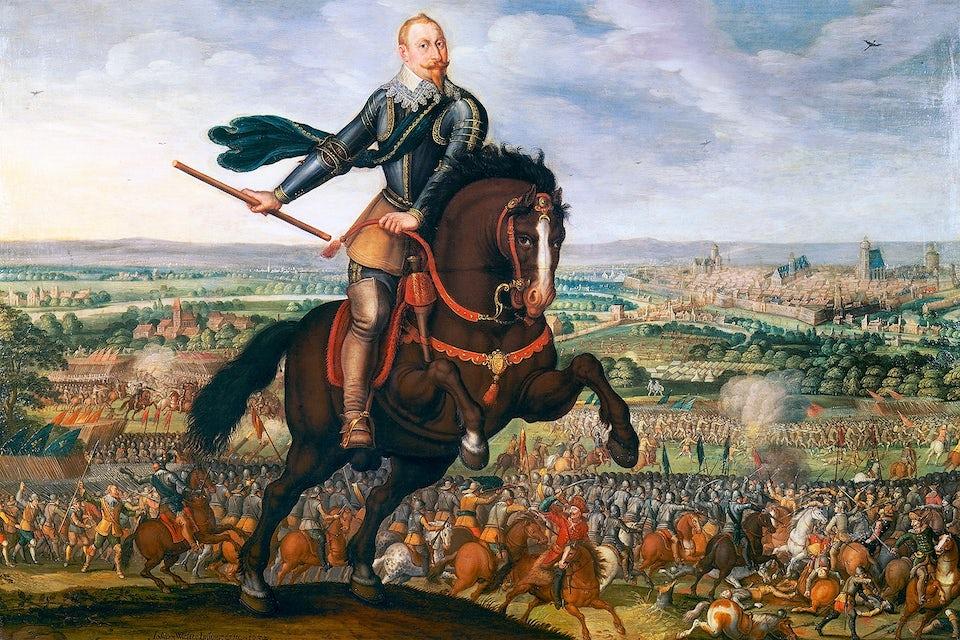 Gustav II Adolf ledde den protestantiska armé som vid Breitenfeld vann sin första seger över katolikerna.