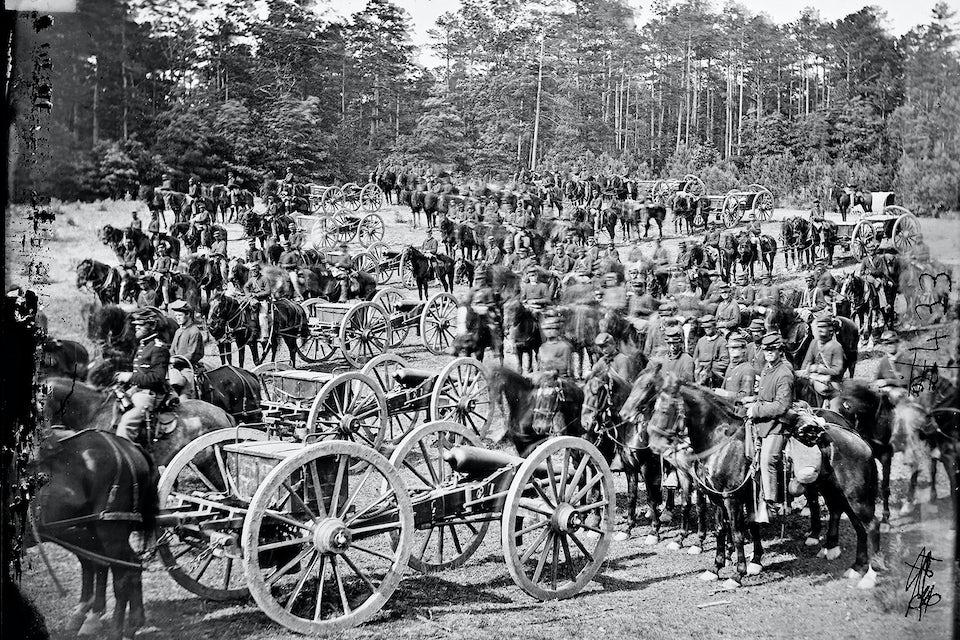 Flying artillery – beridet artilleri – användes på båda sidor under amerikanska inbördeskriget. Här ett batteri ur 2. artilleriet på nordsidan i närheten av Richmond 1862.