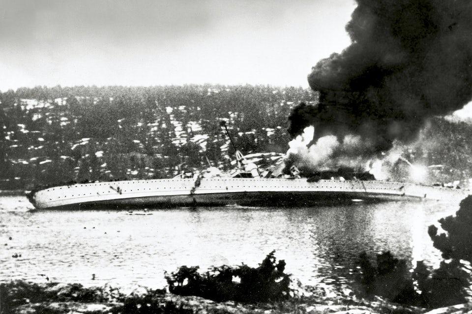 Den tyska kryssaren Blücher kantrad i Oslofjorden den 9 april 1940.
