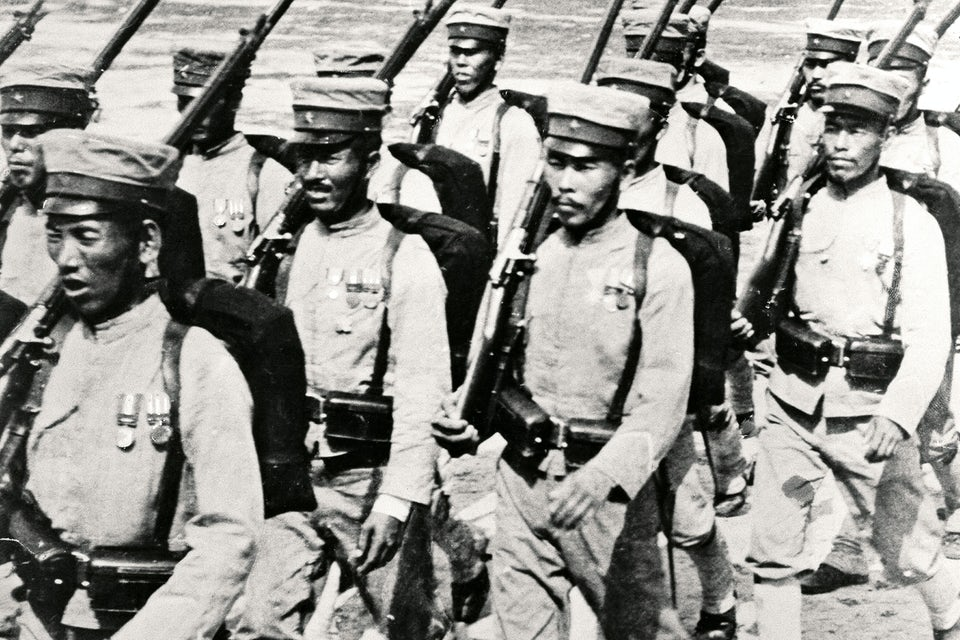 Ryskjapanska kriget 1904-05. Japanska soldater på marsch 1904.
