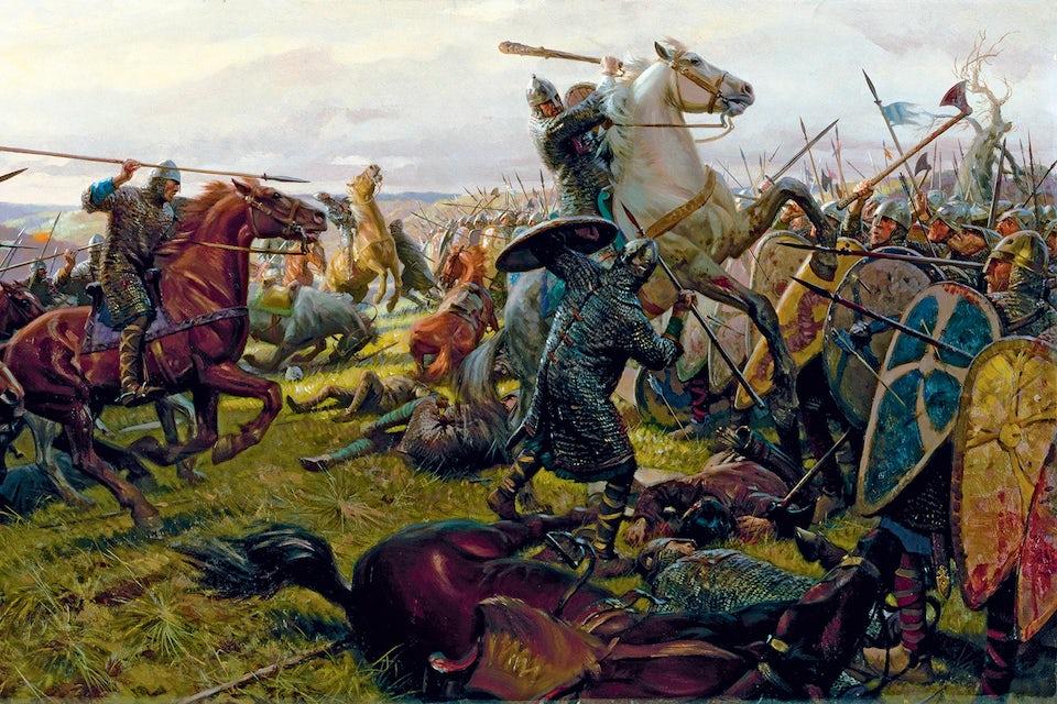 Engelsmännen mötte normandernas kavalleri till fots. Soldaten med träklubba på målningen föreställer biskop Odo, bror till hertig Vilhelm.