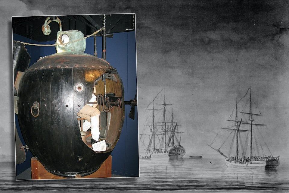 En rekonstruktion av den första ubåten Turtle som finns på Royal Navys ubåtsmuseum i Gosport.
