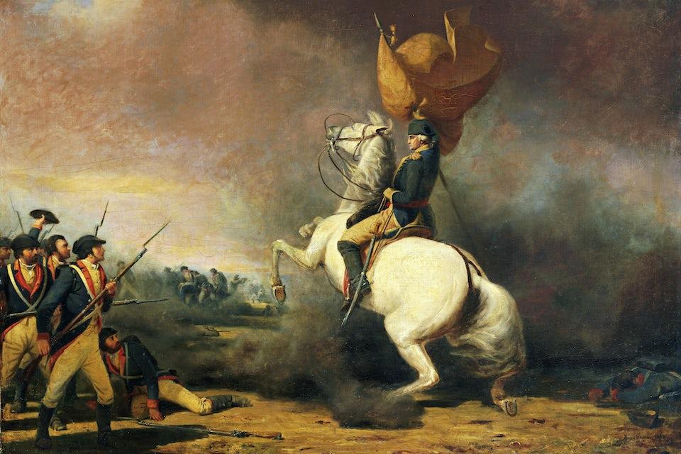 George Washington på en vit häst eldar på trupperna inför slaget om Princeton den 3 januari 1777.
