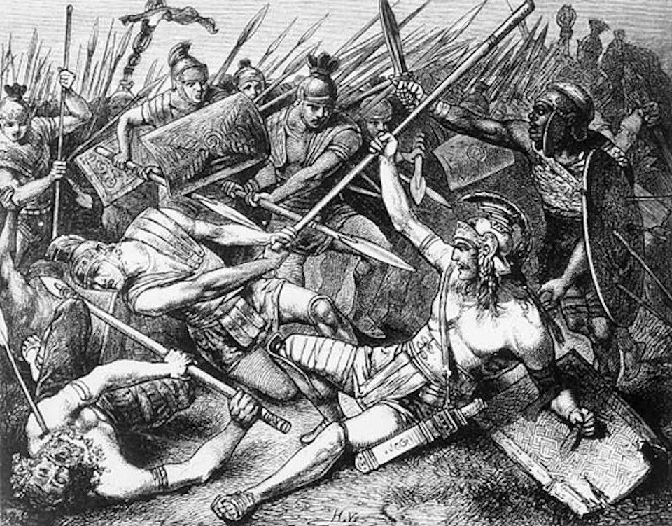 Spartacus död som Hermann Vogel skildrade den 1882.