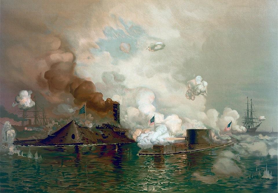 Med striden mellan pansarskeppen *Virginia* (till vänster) och *Monitor* den 9 mars 1862 inleddes en ny era inom sjökrigföringen.     Målning av J O Davidson.