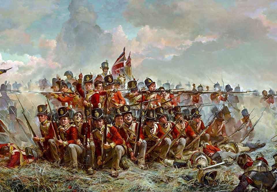 brittiska fotregementet under slaget vid Quatre Bras